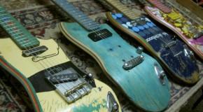 Le chitarre a impatto zero sono fatte di tavole da skateboard riciclate